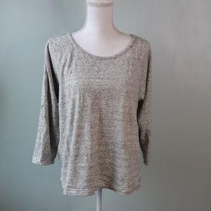 {J Crew} Heather Gray Terry 3/4 Sleeve Sweatshirt